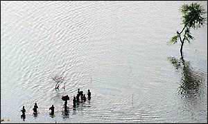 Inundación por lluvias monzónicas en la India