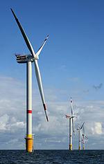 turbinas de viento en el mar a 28km de la costa de Bélgica